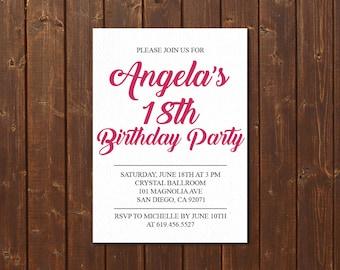 18th Birthday Invitation/Printable Pink & White Birthday Invitation/e-card invitation/Template/Birthday Invitation/eighteenth birthday card