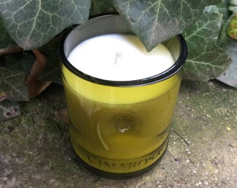 Soy candle in recycled bottle container/EcoSoya organic candle hand poured/warm soft candle glow, Hygge pure