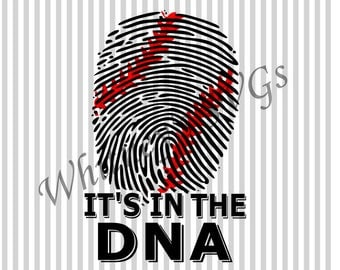 Baseball It's in the DNA Fingerprint SVG DXF Cutting File