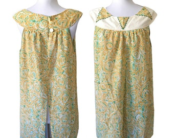 Vintage Retro Yellow & Green Cotton Abstract Printed Sleeveless Trapeze Top