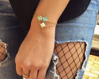 Gold plated bracelet with 3 clovers - Bracelet plated gold with 3 clovers