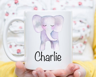 Elephant Mug, Elephant Gift, Personalized Elephant Gift, Elephant Lover, Name Mug, Elephant Monogram, Elephant Decor, Watercolor Elephant
