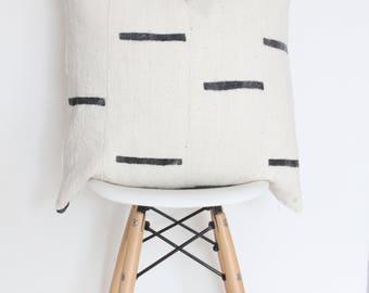 "20"" x 20"" Black & White Lines Mudcloth Pillow Case"