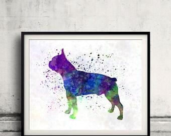 Boston Terrier 02 in watercolor - Fine Art Print Glicee Poster Decor Home Watercolor Gift Illustration Dog - SKU 0317