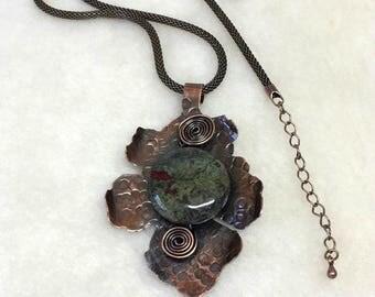 Dragon's Blood Jasper Pendant, Copper Jewelry, Copper Leaf Pendant, Most Sold Item, Ready To Ship, ArizonaCopperCraft, FREE SHIPPING