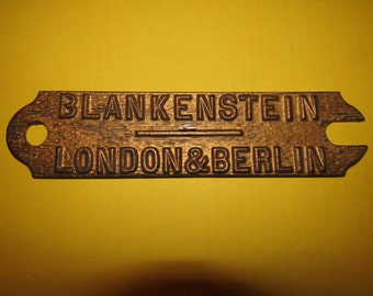 Vintage • BLANKENSTEIN of LONDON & BERLIN • Piano Makers • Cast Iron Plaque
