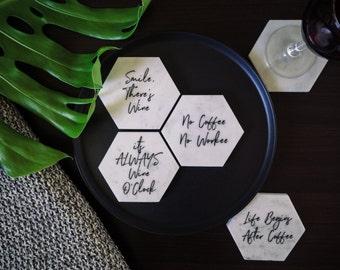 Large Carrara Marble Hexagonal Coaster - Motivational Collection - Housewarming Gift - Stone Coasters