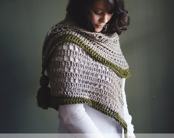 CROCHET PATTERN | The Serein Shawl | Triangle Scarf | Crochet Wrap | Fringe