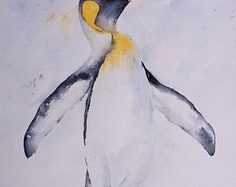 Watercolor watercolor painting original Jay bird Penguin