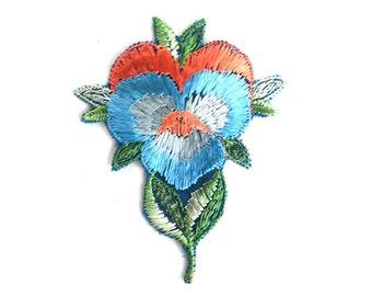 1930s Flower applique, Vintage embroidered applique. Vintage floral patch, antique applique, crazy quilt, silk patch. #64AGC8K2C