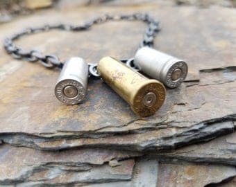 38 Special Bullet choker, bullet jewelry, bullet casing choker, rustic country jewelry, 9mm bullet necklace, ammo choker, bridesmaid gifts