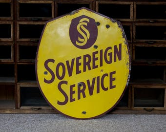 Uncommon Vintage Painted Sovereign Service Shield Tin Gas Station Sign