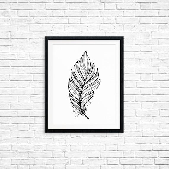 Printable Art, Feather, Spiritual Symbol Art, Home Decor, Art Printable, Digital Download Print