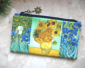 Sunflowers cosmetic bag, Van Gogh bag, phone bag, bridesmaid clutch