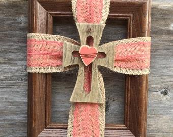 Burlap ribbon cross frame. framed cross, ribbon cross decor, hanging cross