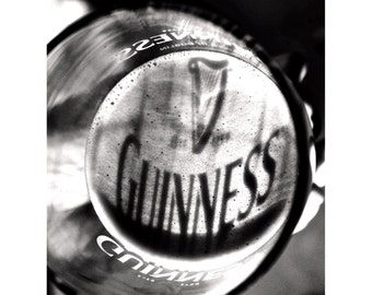 Pint of Guinness Pint, Beer Photography, Gifts for Him, Black & White Photography, Wall Decorations, Wall Art, Photos for Framing - Guinness