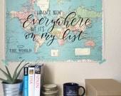 Vintage Map Print . Hand lettered . I haven't been everywhere but it's on my list . hand lettered map . world map . 1950's map . handwritten