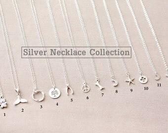 Tiny Silver Necklace Collection, Sterling Silver Necklace, Minimalist Necklace,Silver Charm Necklace,Silver Pendant Necklace,Bridesmaid Gift