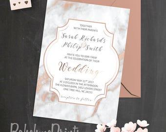 Marble Wedding Invitation Printable Rose Gold Wedding Suite Modern Wedding Invitation Set Marble Invitations Calligraphy Wedding Invites PDF