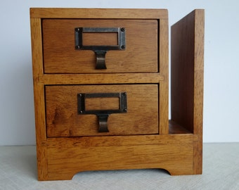 Arts and Crafts style wood desktop organizer two drawers and sorting slot