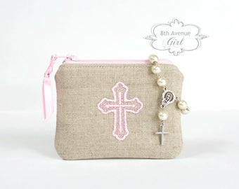 Personalized rosary case, Monogrammed rosary pouch, Rosary case, Baptism gift, First Communion gift, Confirmation Gift, Wedding gift