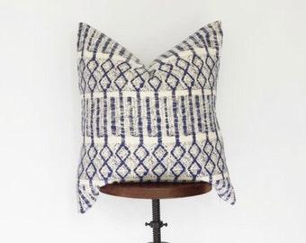 24x24 Batik Hmong Pillow Cover, Boho Pillow, Nursery Decor, Boho Decor, Bohemian Pillow, Blue and Cream, Hand Loomed, Multiple Sizes