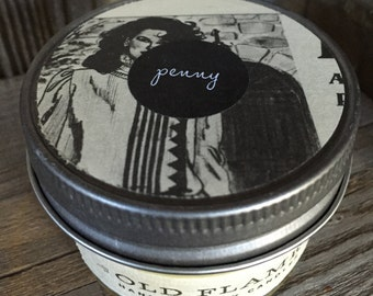 Penny ~ Handmade Cinnamon Scented Soy Candle in Glass Jelly Jar with Repurposed Paper on Pewter Colored Lid ~ 4 ounce