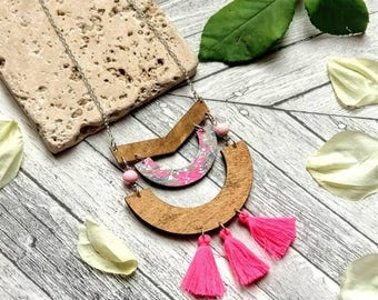 Pink Arch Tassel Necklace ~ Wood Geometric Necklace ~ Natural Wood Necklace ~ Boho Jewellery Tassel Necklace ~ Jewellery Gifts Under 25