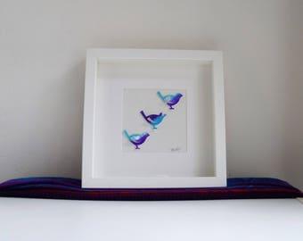3D Bird framed picture 25 x 25cm