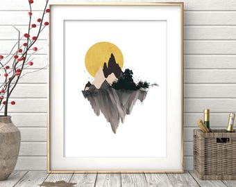 Watercolor Painting, Mountain Print, Watercolor Mountain, Watercolor Print, Wall Art Print, Digital Print, Printable Art, Mountain Art