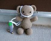 Bear with oxygen tank and nasal cannula stuffed animal toy