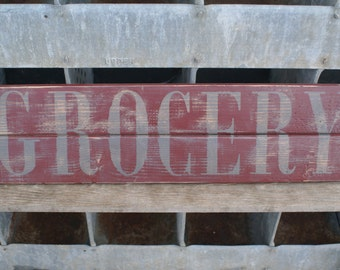 Grocery Sign, Handmade, Handpainted, Rustic Wood, Reclaimed Wood, Pallet Sign, Rustic Farmhouse Style Sign-READY TO SHIP!!