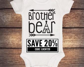 Brother Bear Onesie - Baby Bear - Sister Bear - Little Brother Bear - Sibling Onesie - Boho Baby Clothing - Teepee - Momma Bear