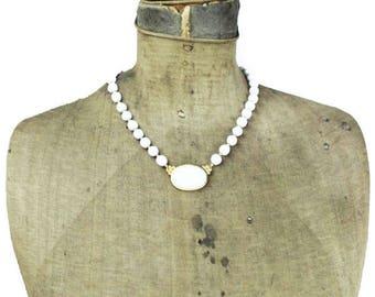Trifari White Bead Necklace, Trifari Milk Glass Necklace, Trifari White and Gold Necklace, White Glass Bead Necklace