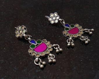Glass silver earrings, Tribal glass earring, Indian glass jewelry, Vintage Rajasthani earrings,Silver Glass Tribal Earrings, Indian Earrings