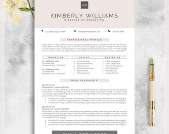 professional resume template cv template for ms word creative resume modern design - Free Teaching Resume Template