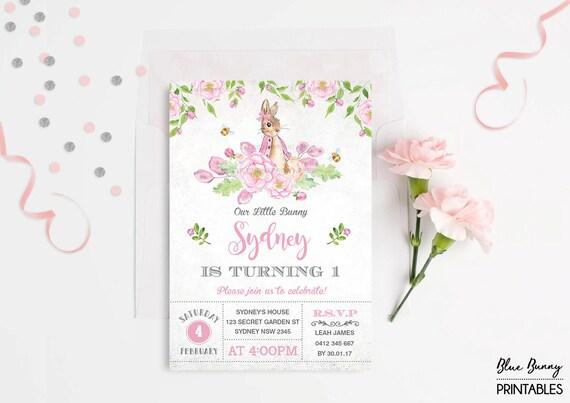 Girl Rabbit First Birthday Invitation Pink Floral Bunny Invite – Garden Tea Party Invitations