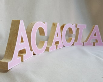 Large freestanding wood block name, pine decoupage letters, Wooden name various sizes and colours available