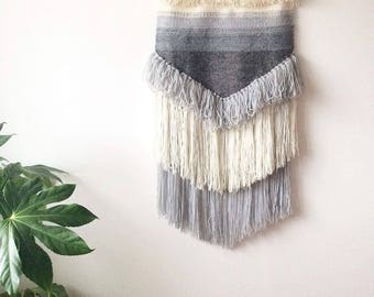 Large Woven Wall Hanging - Breaking Waves - Grey Wall Hanging Wall Art Boho Wall Hanging Wall Tapestry Modern Wall Decor Yarn Hanging