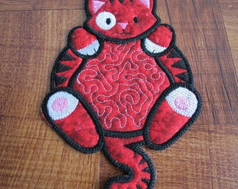 Kitty Mug Rug, Snack Mat, machine embroidered, red, handmade