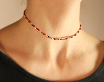 Seed Bead Choker / Vintage bead choker / Rainbow bead choker / Multi-colour bead choker / Simple bead choker / Colorful necklace / Seed bead