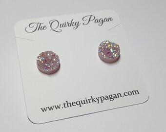 Druzy Earrings, Stud Earrings, Druzy Jewelry, Pink Druzy, Sparkly Earrings, Sparkle Earrings, Boho Earrings, Pink Earrings, Pink Druzy Stud
