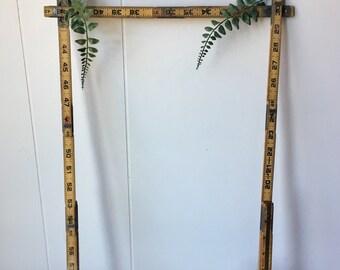 Vintage Folding Extension Yard Stick - Wooden Ruler - Garage Tools - Industrial Rustic Decor