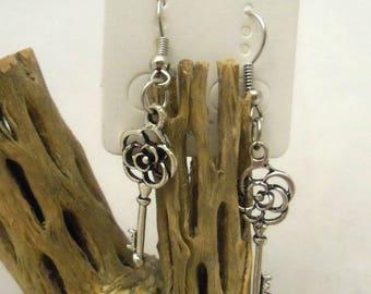 Antique Silver Rose Key Earrings (1127)