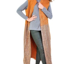 Felted coat without sleeves - Chaleco largo sin mangas