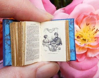 Pride and Prejudice: a twelfth scale leather bound handmade miniature book of Elizabeth Bennett and Mr Darcy written by Jane Austen