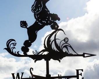 Shaggy Dog Metal Weathervane Roof Mount Poodle Caniche Wind Decor Weather Vane