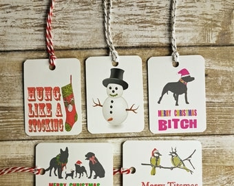 Funny Christmas Gift Tags, Christmas Gift Tags, Christmas Puns, Naughty Christmas Gift Tags, Dog Gift Tags, Sweary Gift Tags, Penis, Tits,
