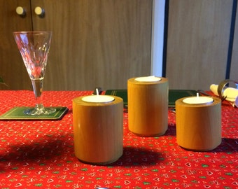 "Three Pequi wood Tea Lights 3""x2.1/4"" 2.3/4""x2.1/4"" 2.1/4'x2.1/4"""