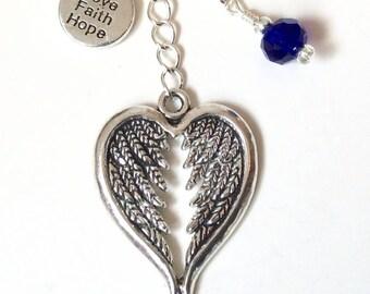 Love, Faith & Hope Angel wings bag or Keychain
